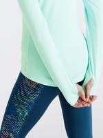 Kadın Mavi Yarım Fermuarlı Koşu T-Shirt