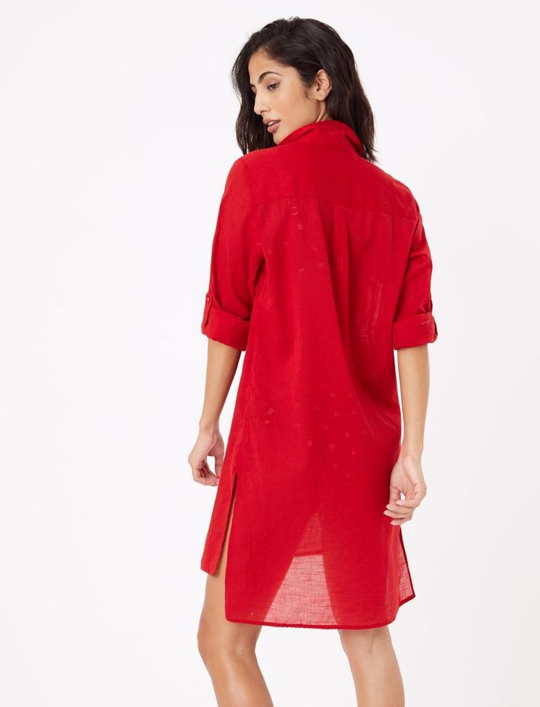 Kadın Kırmızı Saf Pamuklu Plaj Elbisesi