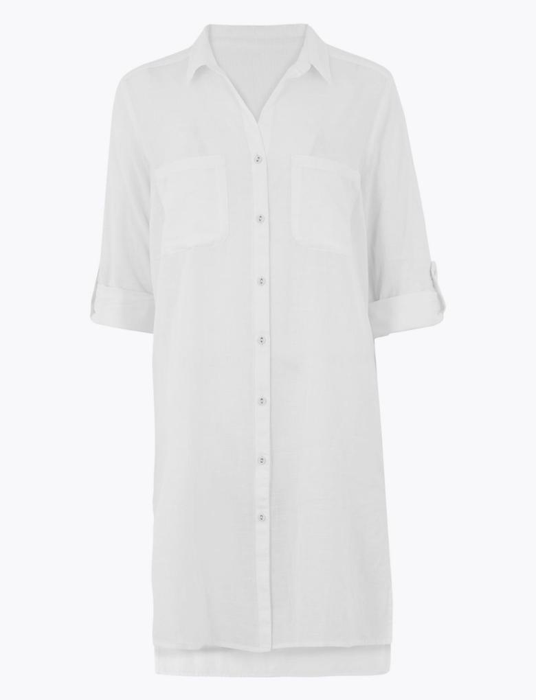 Kadın Beyaz Saf Pamuklu Plaj Elbisesi