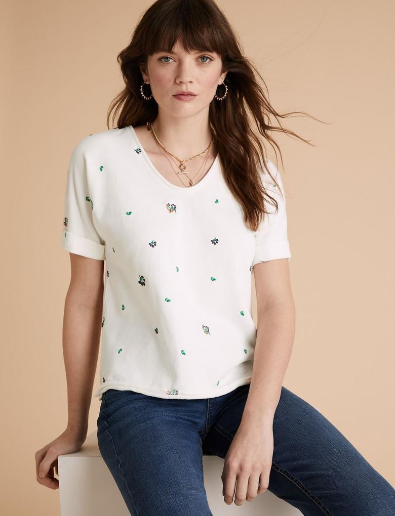 Krem Saf Pamuklu İşlemeli T-shirt