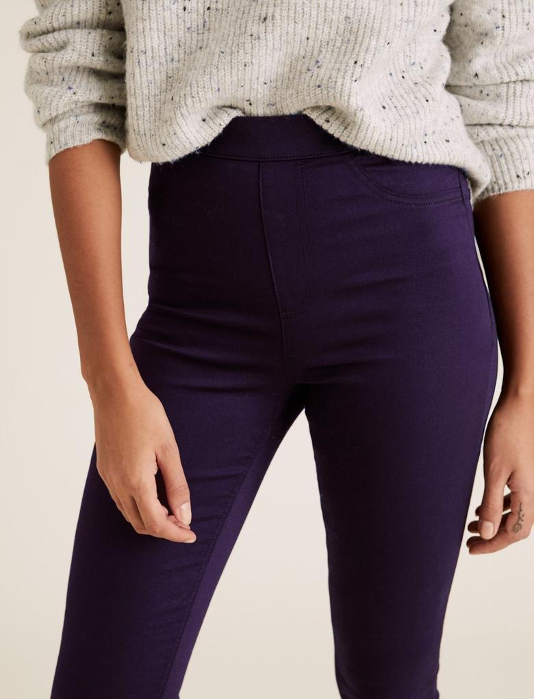 Kadın Mor Yüksek Belli Jegging Pantolon