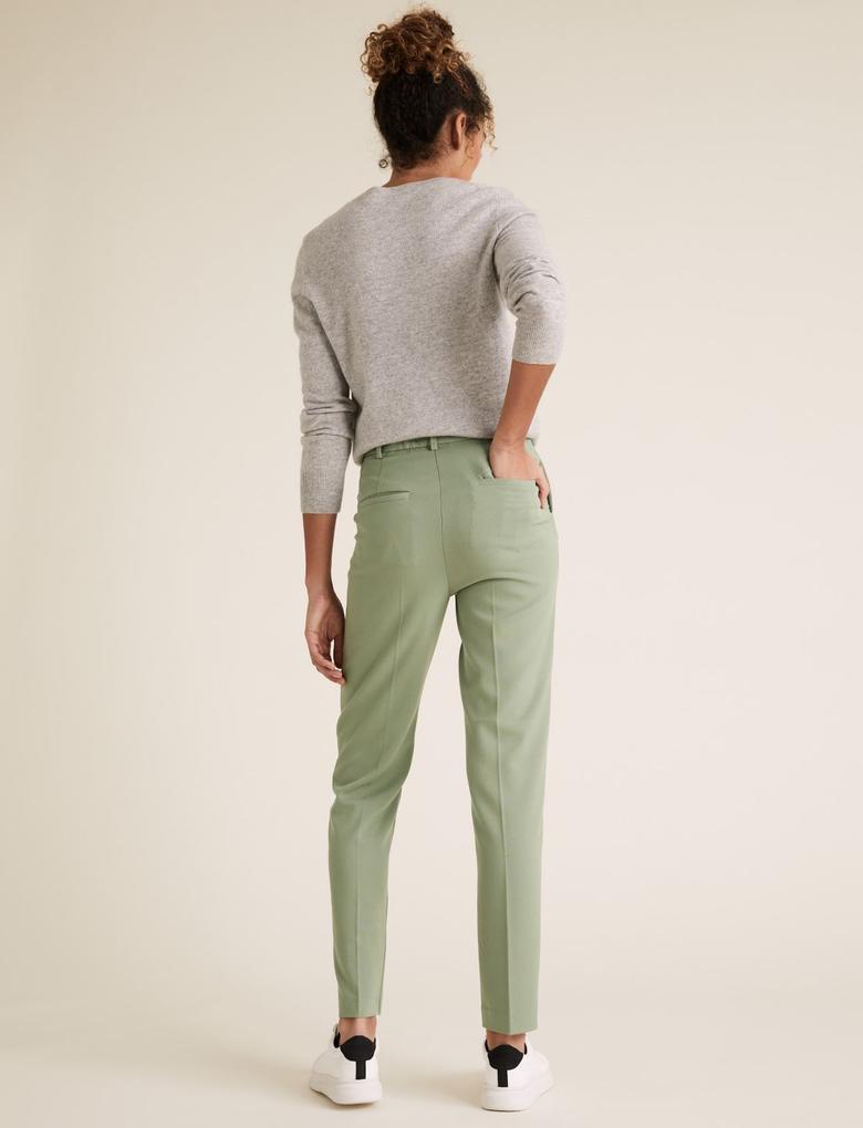Kadın Yeşil Slim Fit Ankle Grazer Pantolon