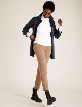Kadın Kahverengi Tapered Ankle Grazer Pantolon