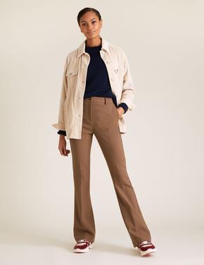 Kadın Kahverengi Slim Fit Flared Pantolon