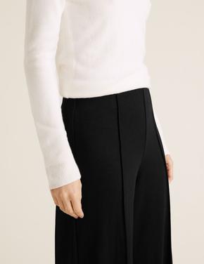 Kadın Siyah Özel Dokulu Wide Leg Pantolon