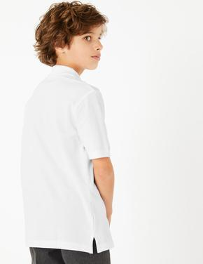 Beyaz 2'li Saf Pamuklu Polo Yaka T-Shirt
