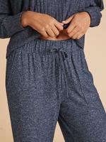 Kadın Lacivert Wide Leg Pijama Atlı