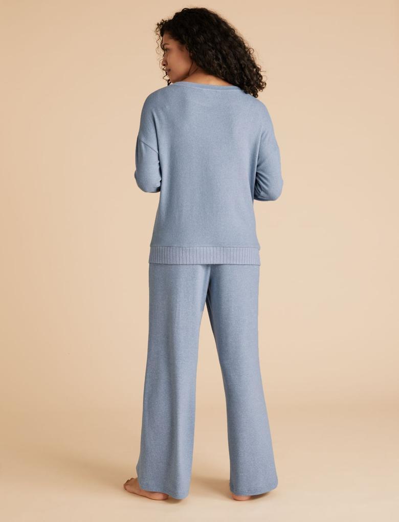 Kadın Gri Wide Leg Pijama Atlı