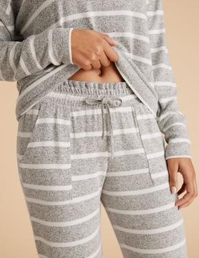 Kadın Gri Çizgili Paçaları Lastikli Pijama Altı