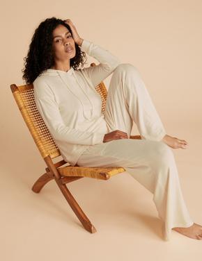 Kadın Krem Kapüşonlu Pijama Üstü