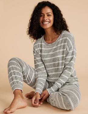 Kadın Gri Çizgili Pijama Üstü