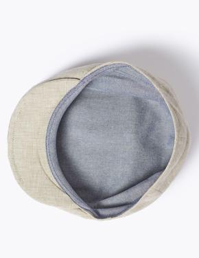 Erkek Bej Keten Dokulu Şapka