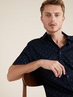 Erkek Lacivert Kısa Kollu Geometrik Desenli Gömlek