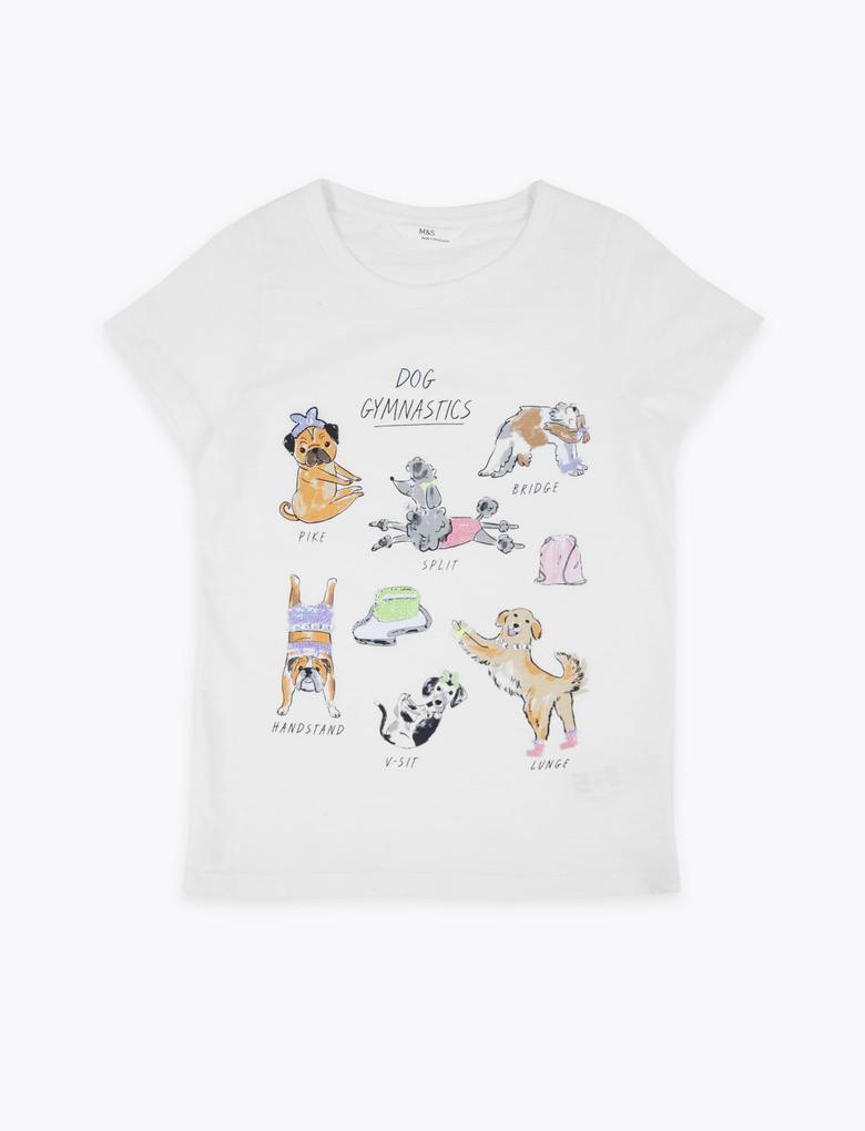 Kız Çocuk Beyaz Saf Pamuklu Grafik T-Shirt