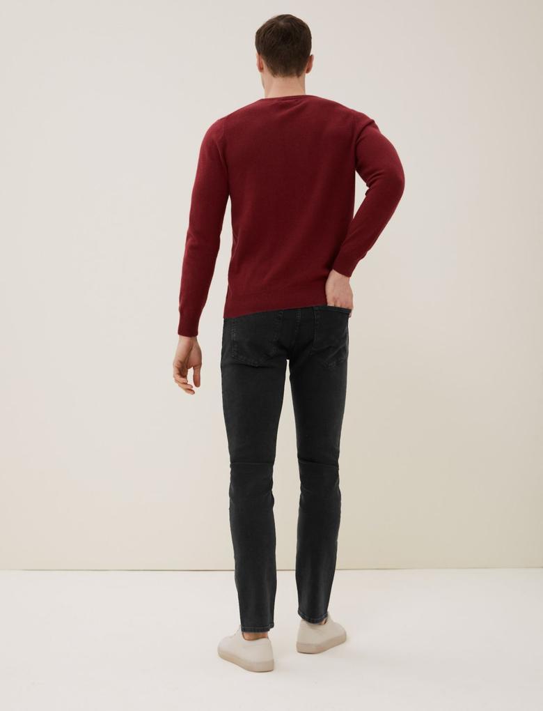 Siyah Slim Fit İtalyan Jean Pantolon