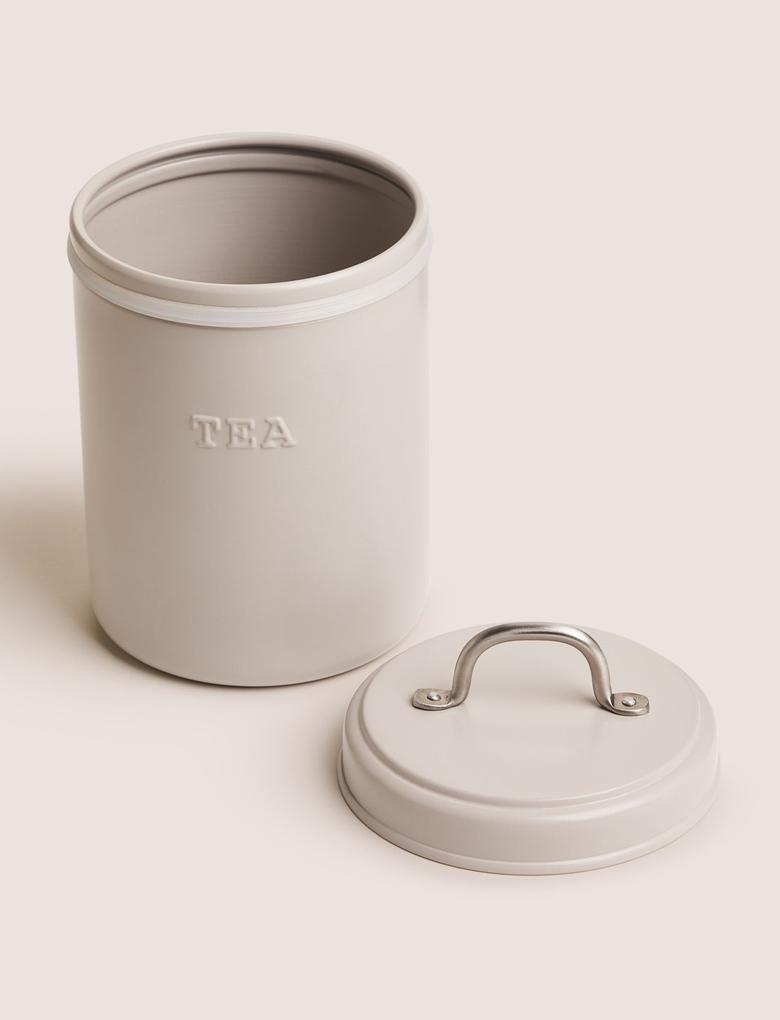 Ev Gri Çelik Çay Saklama Kabı