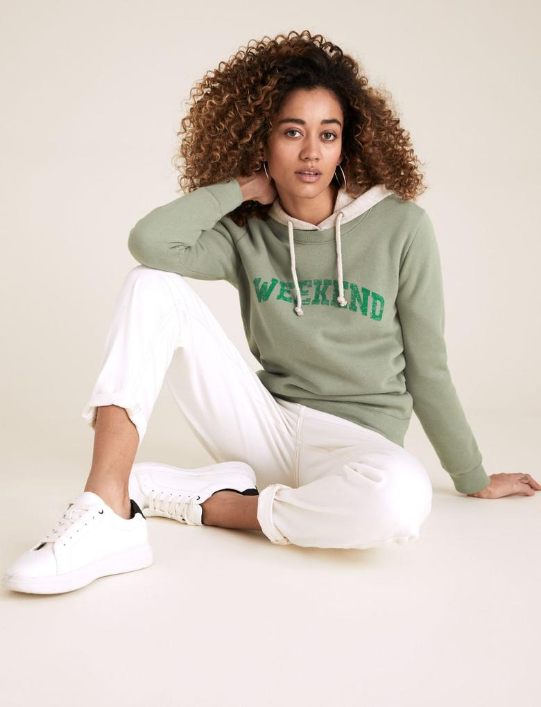 Kadın Yeşil Pamuklu Yuvarlak Yaka Slogan Sweatshirt