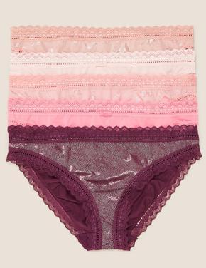 Pembe 5'li Dantelli Detaylı Bikini Külot Seti
