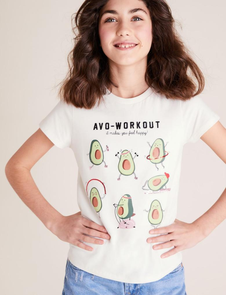Kız Çocuk Beyaz Saf Pamuklu Avokado Baskılı T-Shirt