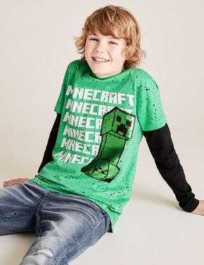 Erkek Çocuk Yeşil Değişen Pullu Minecraft™ T-Shirt