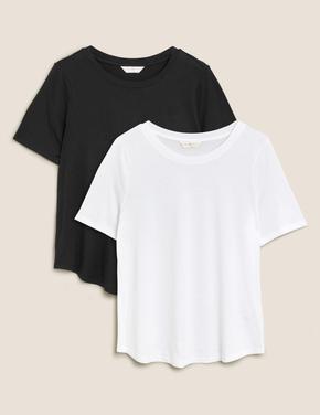 Kadın Siyah 2'li Modal Karışımlı T-Shirt