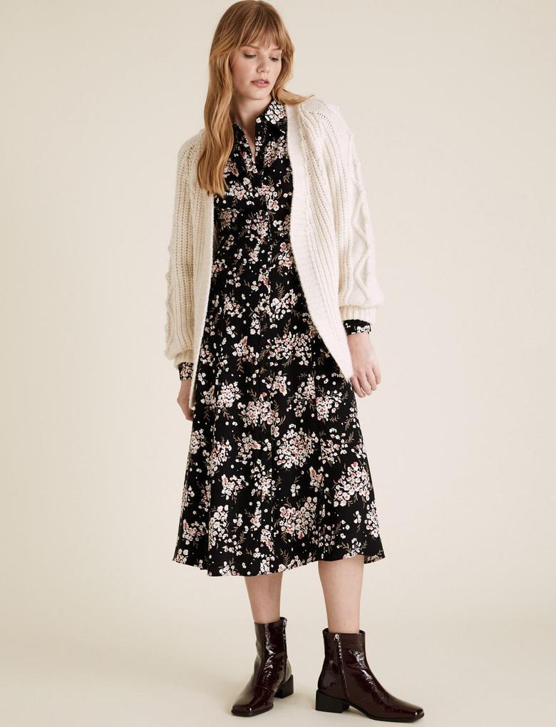 Kadın Siyah Çiçek Desenli Midi Gömlek Elbise