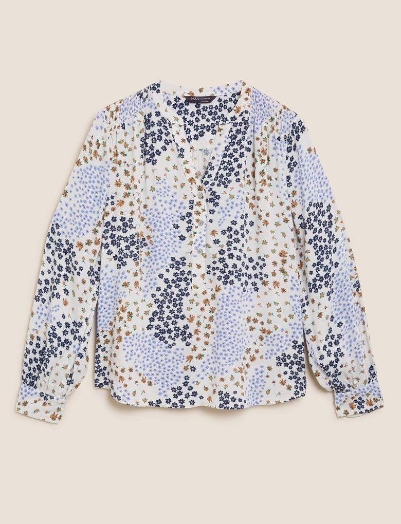 Kadın Krem Çiçek Desenli V Yaka Bluz