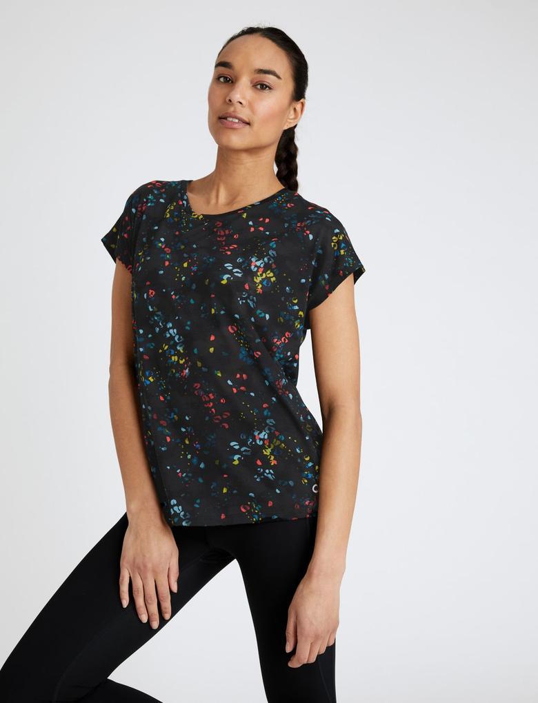Kadın Multi Renk Kısa Kollu Desenli T-Shirt