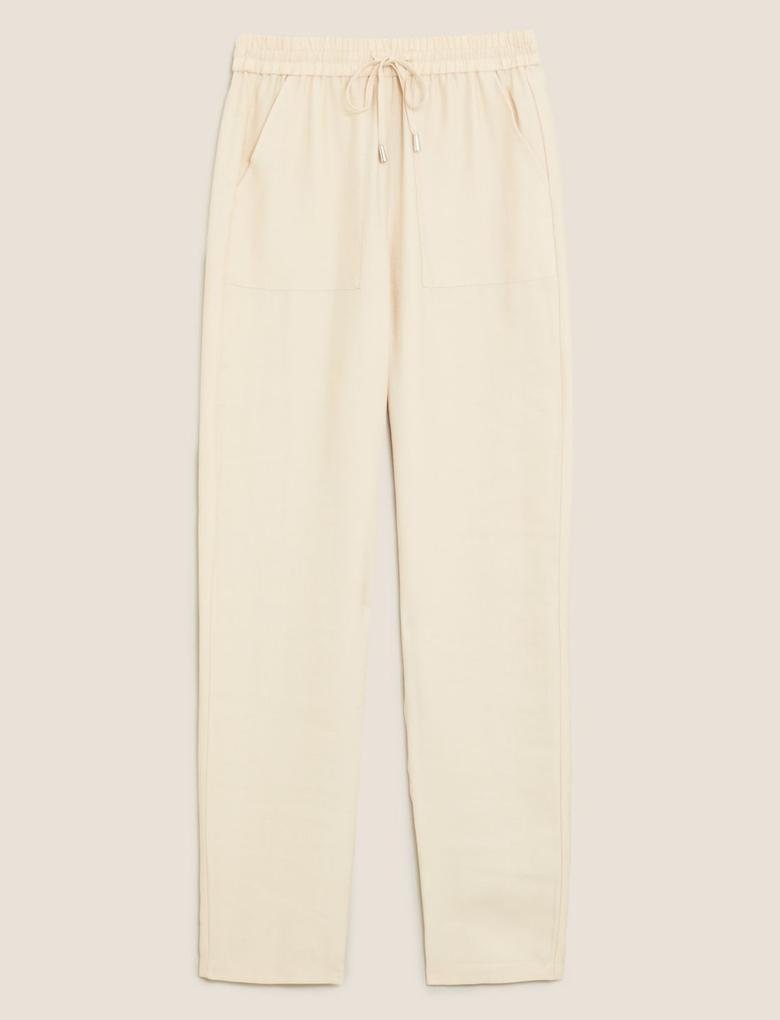 Kadın Bej Tencel™ Tapered Ankle Grazer Pantolon