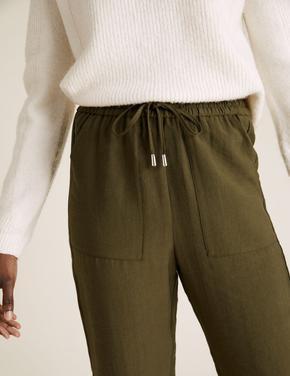 Kadın Yeşil Tencel™ Tapered Ankle Grazer Pantolon