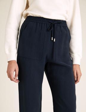 Kadın Lacivert Tencel™ Tapered Ankle Grazer Pantolon
