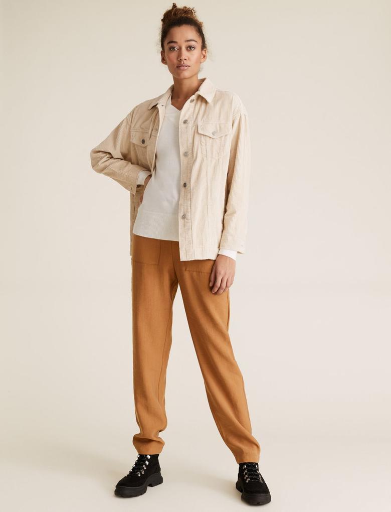 Kadın Kahverengi Tencel™ Tapered Ankle Grazer Pantolon
