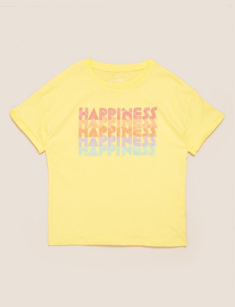 Kız Çocuk Sarı Organik Pamuklu Slogan T-Shirt
