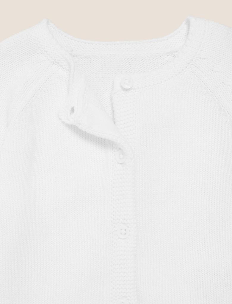 Bebek Beyaz Saf Pamuk Örme Hırka (0-12 Ay)