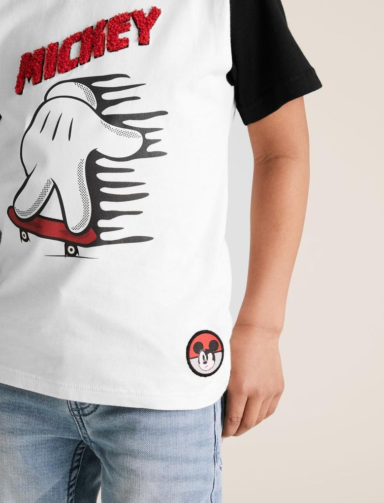 Erkek Çocuk Siyah Saf Pamuklu Mickey Mouse T-Shirt
