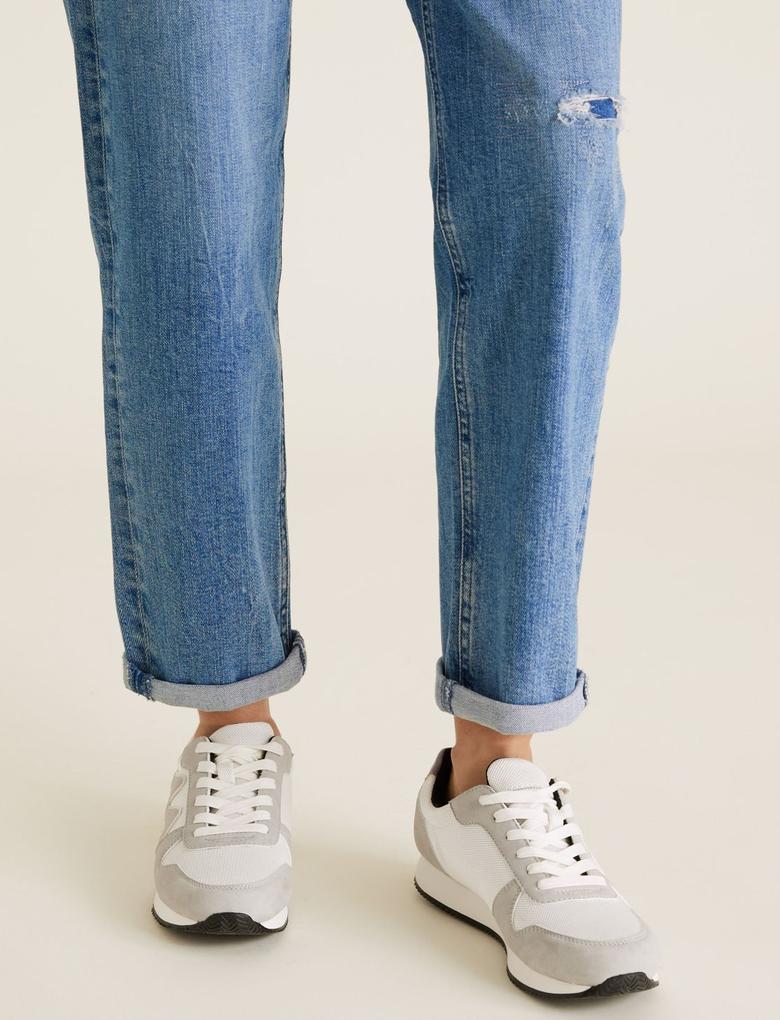 Kadın Mavi Boyfriend Ankle Grazer Jean Pantolon