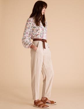Kadın Pembe Tencel™ Kargo Ankle Grazer Pantolon