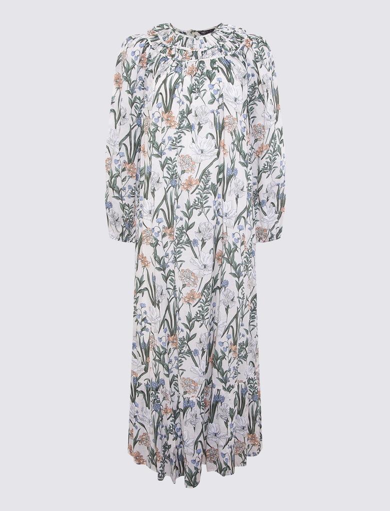 Kadın Krem Çiçek Desenli Maxi Elbise