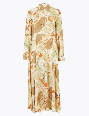Kadın Gri Çiçek Desenli Midi Gömlek Elbise