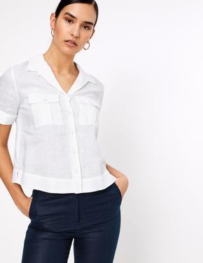 Kadın Beyaz Kısa Kollu Keten Gömlek