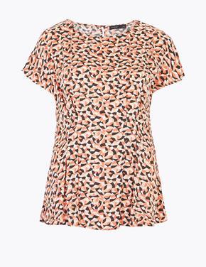 Kadın Turuncu Geometrik Desenli Bluz