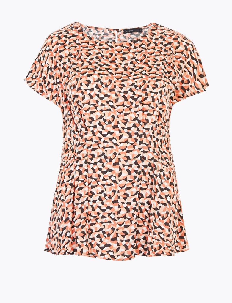 Turuncu Geometrik Desenli Bluz