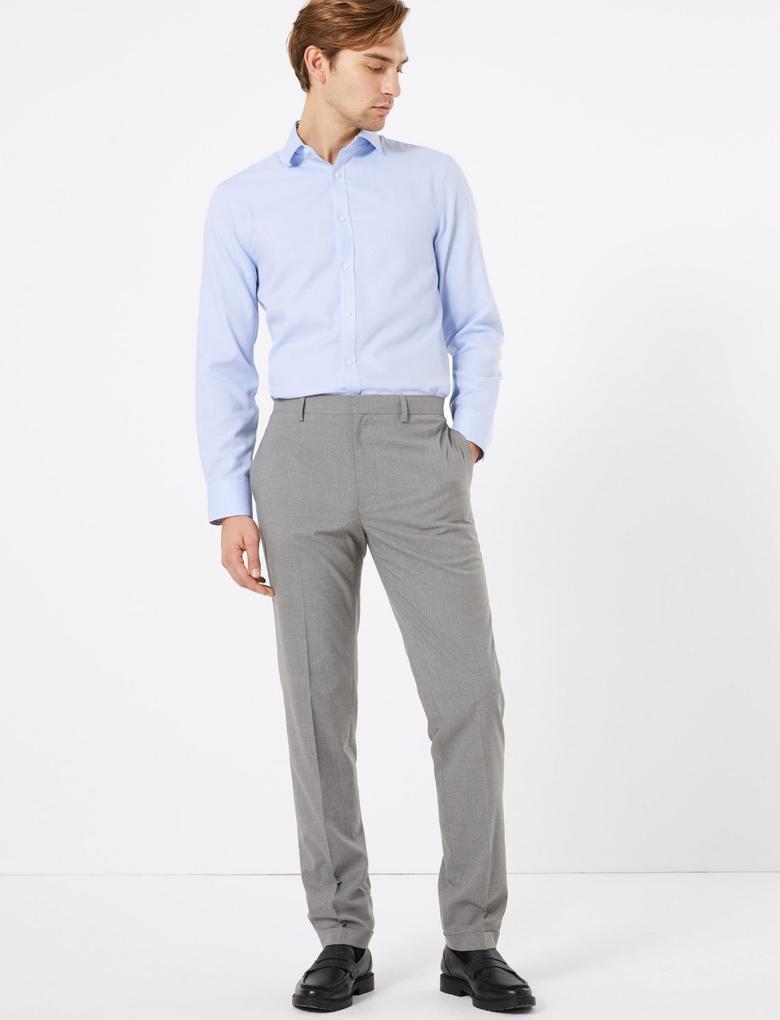 Gri Çizgili Slim Fit Pantolon