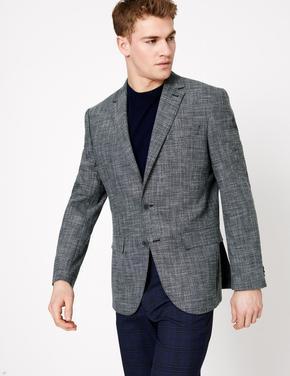 Mavi Dokulu Regular Fit Ceket