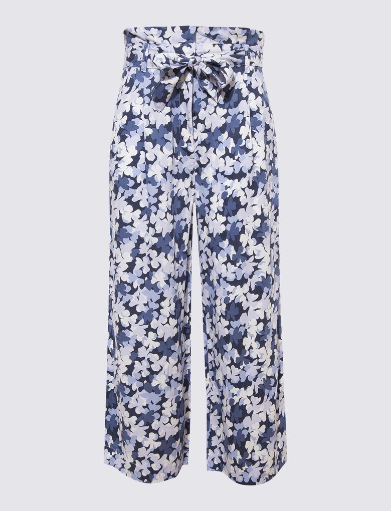 Kadın Mavi Tencel™ Desenli Pantolon