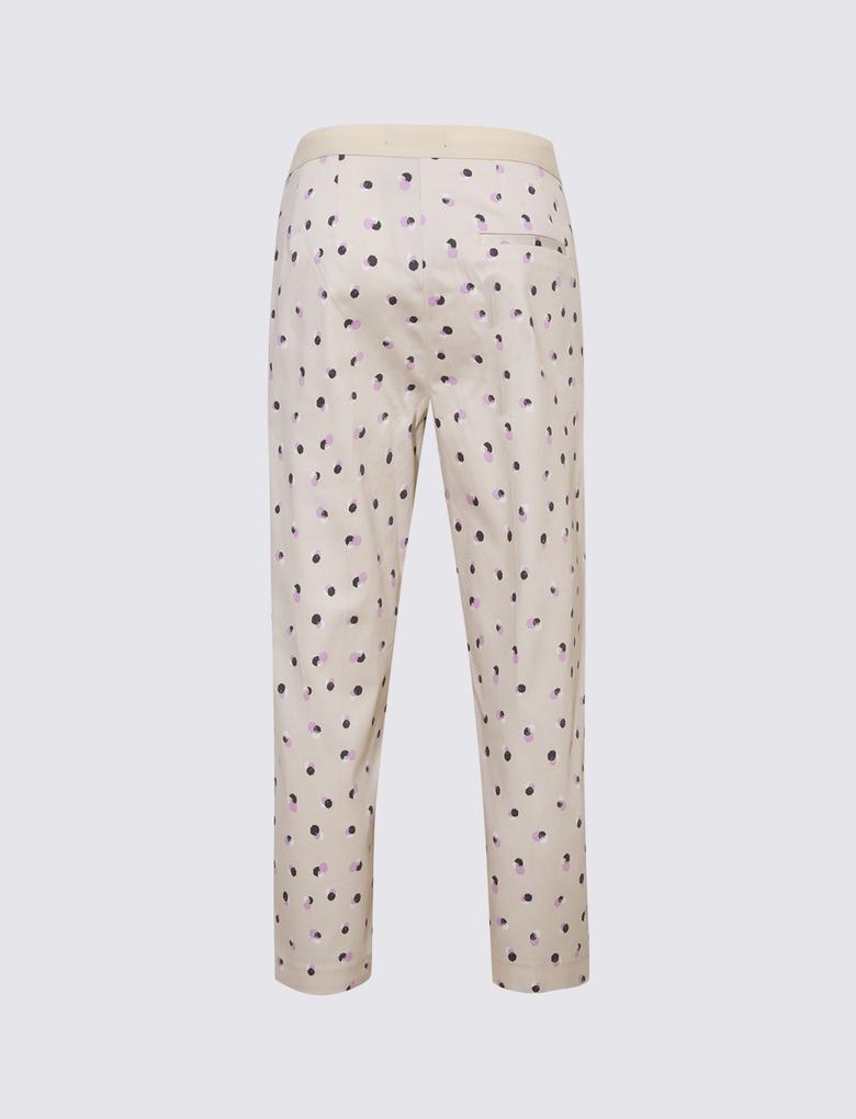 Kadın Gri Desenli Mia Slim Crop Pantolon