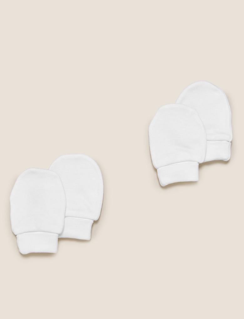Bebek Beyaz 2'li Organik Pamuklu Eldiven Seti