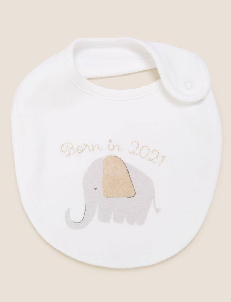 Bebek Krem Organik Pamuklu Slogan Mama Önlüğü
