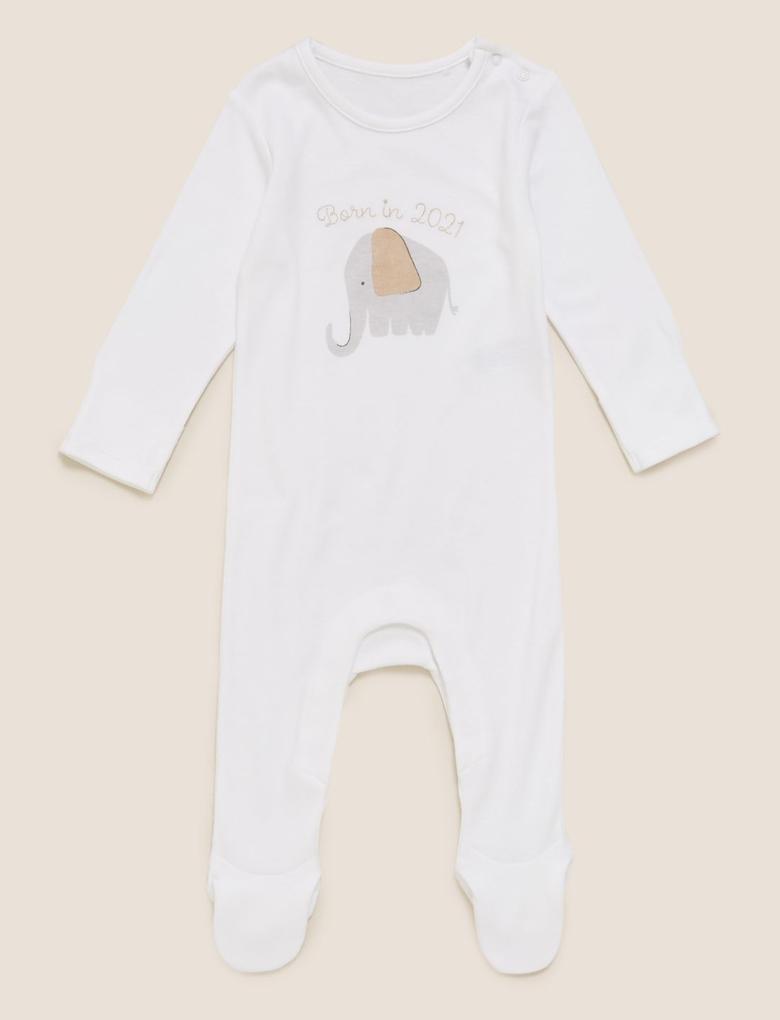 Bebek Krem Fil Desenli Uzun Kollu Uyku Tulumu (0-12 Ay)
