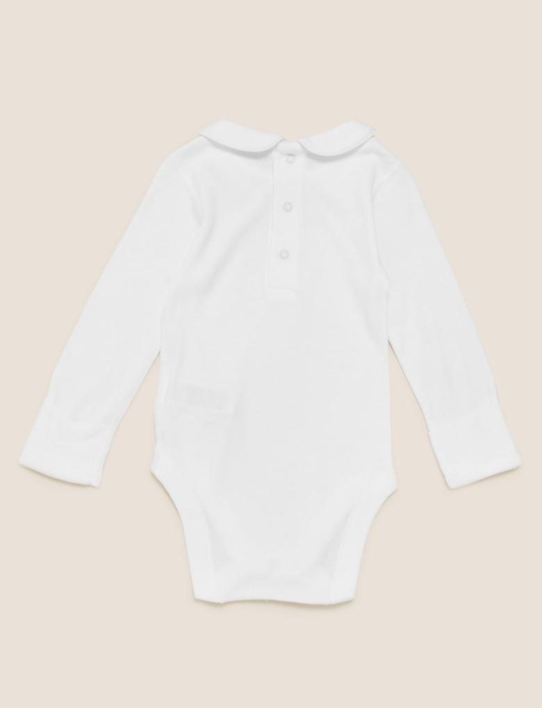 Bebek Krem Organik Pamuklu İşlemeli Body